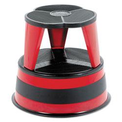 Cramer Industries Kik-Step Steel Step Stool, 2-Step, 350 lb Capacity, 16 in dia. x 14.25h, Red