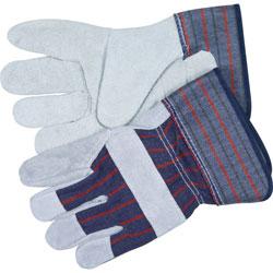 Crews Split Leather Palm Gloves, Medium, Gray, Pair