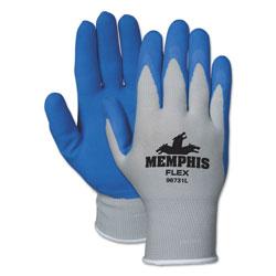 Crews Memphis Flex Seamless Nylon Knit Gloves, Large, Blue/Gray, Pair