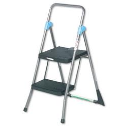 Cosco Commercial 2-Step Folding Stool, 300 lb Capacity, 20.5w x 24.75d x 39.5h, Gray