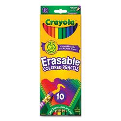 Crayola Erasable Color Pencil Set, 3.3 mm, 2B (#1), Assorted Lead/Barrel Colors, 10/Pack