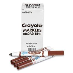 Crayola Broad Line Washable Markers, Broad Bullet Tip, Brown, 12/Box
