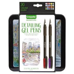 Binney and Smith Detailing Stick Gel Pen, Medium 1mm, Assorted Ink, Black Barrel, 20/Set