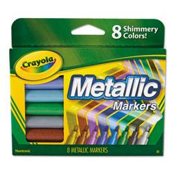 Crayola Metallic Markers, Medium Bullet Tip, Assorted Colors, 8/Set