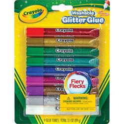 Crayola Washable Glitter Glue, 9 Carton, Assorted