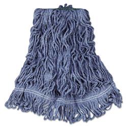 Rubbermaid Super Stitch Blend Mop Head, Medium, Cotton/Synthetic, Blue, 6/Carton