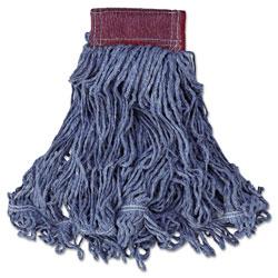 Rubbermaid Super Stitch Blend Mop Head, Large, Cotton/Synthetic, Blue, 6/Carton