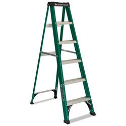Louisville Ladder Fiberglass Step Ladder, 8 ft Working Height, 225 lbs Capacity, 5 Step, Green/Black
