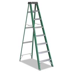 Louisville Ladder Fiberglass Step Ladder, 8 ft Working Height, 225 lbs Capacity, 7 Step, Green/Black