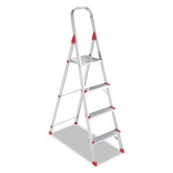 Louisville Ladder Aluminum Euro Platform Ladder, 8 ft Working Height, 200 lbs Capacity, 4 Step, Aluminum/Red