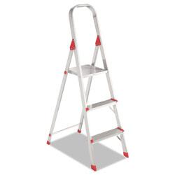 Davidson Ladders Aluminum Euro Platform Ladder, 8 ft Working Height, 200 lbs Capacity, 3 Step, Aluminum/Red