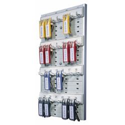 Durable Key Rack, 24-Tag Capacity, 8 3/8 in x 1 3/8 in x 14 1/8 in, Gray Plastic