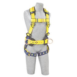 DBI/Sala Full-Body Harness, Tongue Buckles, Side/Back D-Rings, Large, 420lb Capacity