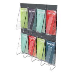 Deflecto Stand-Tall 8-Bin Wall-Mount Literature Rack, Leaflet, 18.25w x 3.38d x 23.75h, Clear/Black