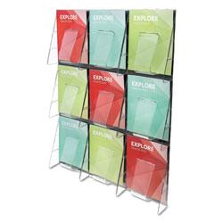 Deflecto Stand-Tall 9-Bin Wall-Mount Literature Rack, Mag, 27.5w x 3.38d x 35.63h, Clear/Black