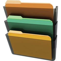 "Deflecto Stackable Wall Pockets, 3 Compartments, 13""x4""x14"", Smoke"