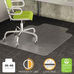 Deflecto DuraMat Moderate Use Chair Mat, Low Pile Carpet, Flat, 36 x 48, Lipped, Clear