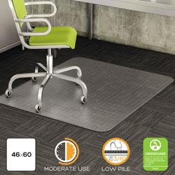 Deflecto DuraMat Moderate Use Chair Mat, Low Pile Carpet, Flat, 46 x 60, Rectangle, Clear