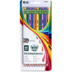 Dixon Ticonderoga Wood Pencils, No. 2, 10/PK, Assorted