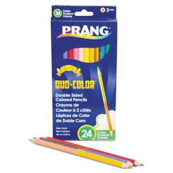 Prang Duo-Color Colored Pencil Sets, 3 mm, 2B (#1), Assorted Lead/Barrel Colors, Dozen