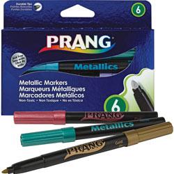 Prang Washable Markers, Bullet Tip, Six Assorted Metallic Colors, 6/Set