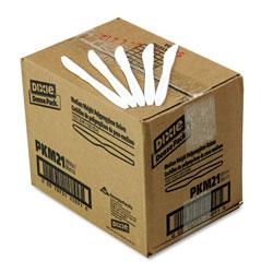 Dixie Plastic Cutlery, Mediumweight Knives, White, 1,000/Carton