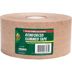 Duck® Reinforced Gummed Tape, 2-3/4 inx375', 8RL/CT, Kraft