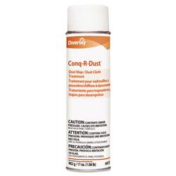 Diversey Conq-r-Dust Dust Mop/Dust Cloth Treatment, Amine Scent, 17oz Aerosol, 12/Carton