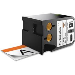 Dymo XTL Pre-Sized Labels, 2 in x 4 in, White/Orange Header/Black Print, 70/Cartridge
