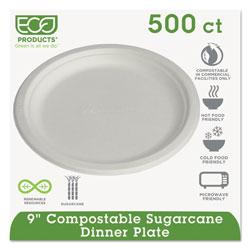 Eco-Products Renewable & Compostable Sugarcane Plates, 9 in, 500/Carton
