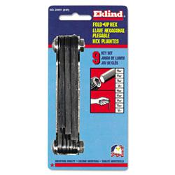 Eklind N91 Classic Fold-Up Tool, 9-Piece Hex Set, SAE, Polished Steel/Black Oxide