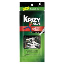 Krazy Glue All-Purpose Super Glue Single-Use Tubes, 0.02 oz, Dries Clear, 6/Pack