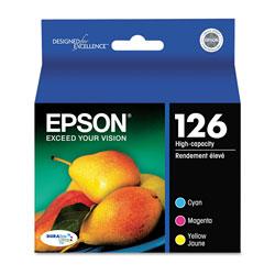 Epson T126520S (126) DURABrite Ultra High-Yield Ink, Cyan/Magenta/Yellow, 3/PK