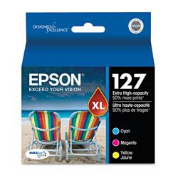 Epson T127520S (127) DURABrite Ultra Extra High-Yield Ink, Cyan/Magenta/Yellow, 3/PK