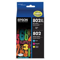 Epson T802XLBCS (802)(802XL) DURABrite Ultra High-Yield Ink, Cyan/Magenta/Yellow/Black