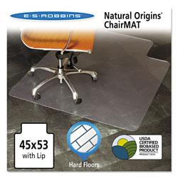 E.S. Robbins Natural Origins Chair Mat with Lip For Hard Floors, 45 x 53, Clear