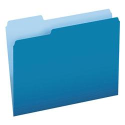 Pendaflex Colored File Folders, 1/3-Cut Tabs, Letter Size, Blue/Light Blue, 100/Box