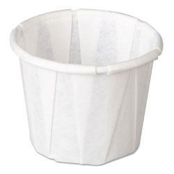 Genpak Squat Paper Portion Cup, Pleated, .5oz, White, 250/Sleeve, 20 Sleeve/Carton