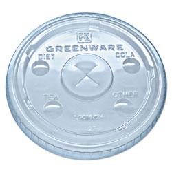 Fabri-Kal Greenware Cold Drink Lids, Fits 16-18, 24 oz Cups, X-Slot, Clear, 1000/Carton