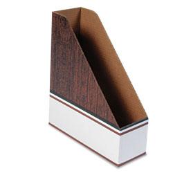 Fellowes Corrugated Cardboard Magazine File, 4 x 11 x 12 3/4, Wood Grain, 12/Carton