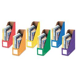 Fellowes Cardboard Magazine File, 4 1/4 x 11 3/8 x 12 7/8, Assorted, 6/PK