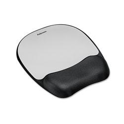 Fellowes Memory Foam Mouse Pad Wrist Rest, 7 15/16 x 9 1/4, Black/Silver