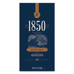 1850 Coffee, Black Gold, Dark Roast, Ground, 12 oz Bag