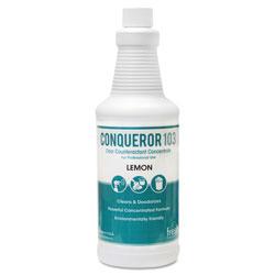 Fresh Products Conqueror 103 Odor Counteractant Concentrate, Lemon, 32oz Bottle, 12/Carton