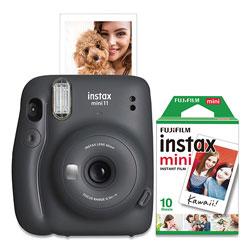 Fuji Instax Mini 11 Camera Bundle, Auto Focus, Charcoal