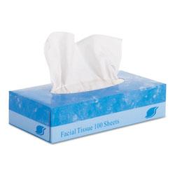 GEN Facial Tissue, 2-Ply, White, Flat Box, 100 Sheets/Box, 30 Boxes/Carton