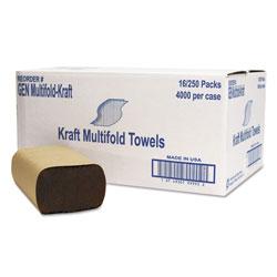 GM Multifold Towel, 1-Ply, Brown, 250/Pack, 16 Packs/Carton