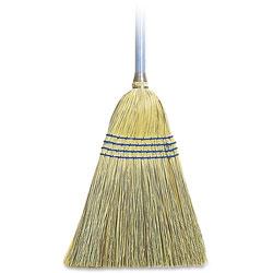 Genuine Joe Lightweight Corn/Fiber Maids Broom, 12EA/CT, Natural