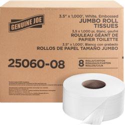 Genuine Joe Bath Tissue Roll, 2-Ply, 3-7/8 in x 9 in x 3-1/2 in, 8/CT, White