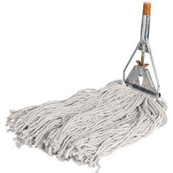 "Genuine Joe Wet Mop, 4 Ply, 15/16"" x 60"" Wood Handle, 24 oz, Natural Cotton"